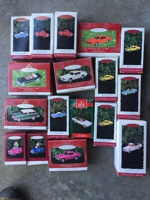 17 Hallmark Ornaments Lot Including 1966 Mustang # 2 Collectors Series
