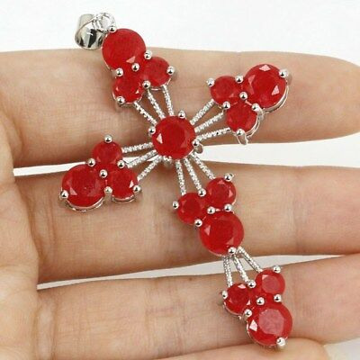 Cross Real Red Ruby SheCrown Woman's Wedding Silver Pendant