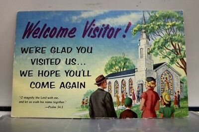 Christian Welcome Visitor Glad You Visited Postcard Old Vintage Card View Post