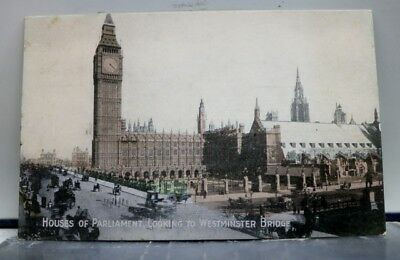 United Kingdom London England Parliament Houses Westminster Bridge Postcard Old