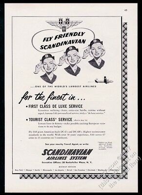 1952 SAS Scandinavian Airlines stewardess art vintage print ad