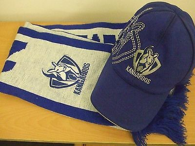Afl: North Melbourne Kangaroos: Scarf & Cap Supporters Set: Pre-Owned: Very Good