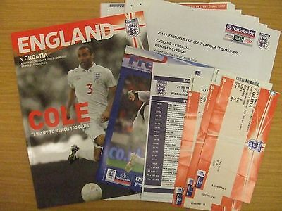 ENGLAND v CROATIA: 2010 WORLD CUP QUALIFIER : WEMBLEY PROGRAMME/TICKET/EXTRAS!!