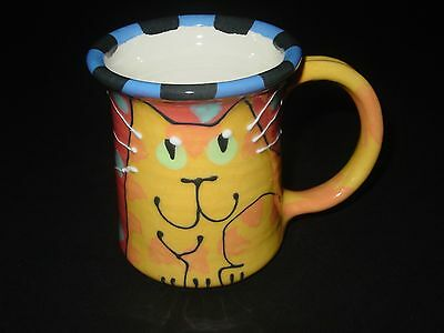 Cat 3D Pet Artist Signed Russell Lanz Ceramic Pottery Cup Mug Tea Coffee 12 On