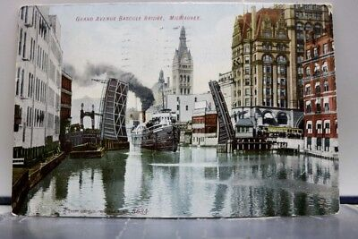 Wisconsin WI Grand Avenue Bascule Bridge Milwaukee Postcard Old Vintage Card PC