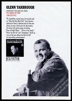 1965 Glenn Yarbrough photo It's Gonna Be Fine record release trade print ad