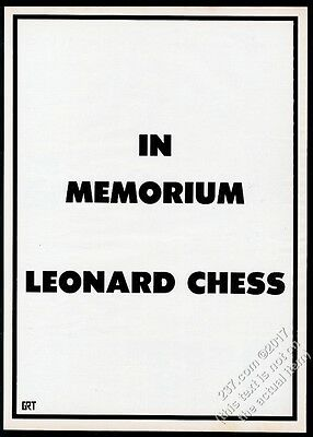 1969 death of Leonard Chess memorial GRT Tapes vintage trade print ad
