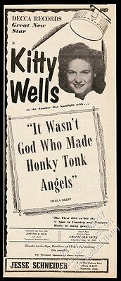 1952 Kitty Wells photo It Wasn't God Who made Honky Tonk Angels record trade ad
