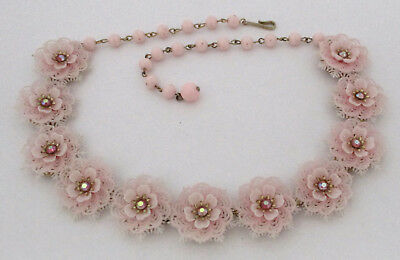 Vintage Lacy Pink Plastic Flower Necklace Coro