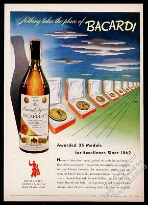1944 Bacardi Cuban rum bottle color perspective art vintage print ad