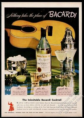1944 Bacardi rum bottle yellow guitar photo vintage print ad
