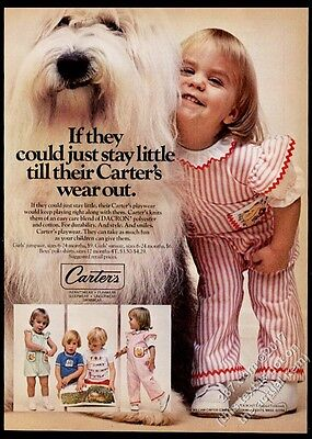 1977 Old English Sheepdog photo & little girl Carter's clothes vintage print ad