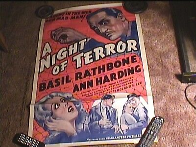 A Night Of Terror Orig 27X41 Movie Poster 1937 Basil Rathbone Horror