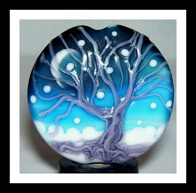 """November Snowfall"" handmade lampwork focal glass WINTER TREE bead WSTGA"
