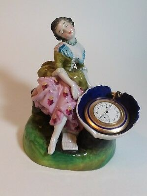 Magnificent Antique Porcelain Figural Pocket Watch Holder Lady at Shell Fou tain