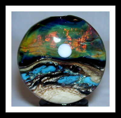 """Another World"" handmade lampwork focal glass STARS MOON OCEAN SEA bead WSTGA"