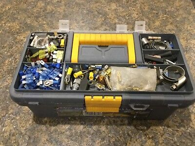 Tool Box packed full with Electricians Tools, Connectors, Terminals, etc