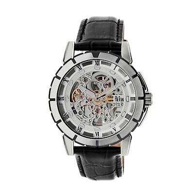 Reign Philippe Automatic Skeleton Dial Leather-Band Watch, Silver, REIRN4603
