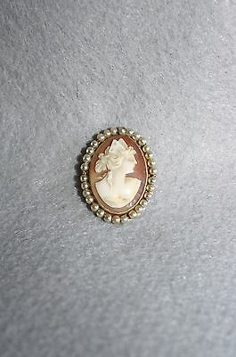 Antique Victorian 14K Yellow Gold Carved Hardstone Cameo Pearl Brooch  6.1 grams