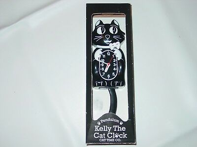 The Cat Kelly Wall Clock Pendulum  Time Co Moving Eyes & Tail Black White Kitty