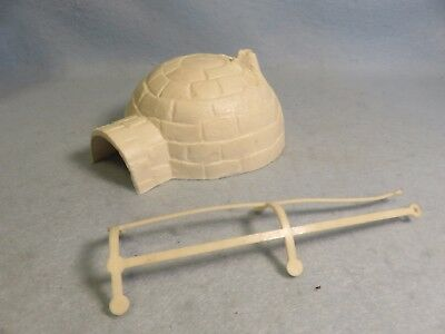 Ideal vintage 1950's Canadian Mountie Headquarters playset igloo + sled harness