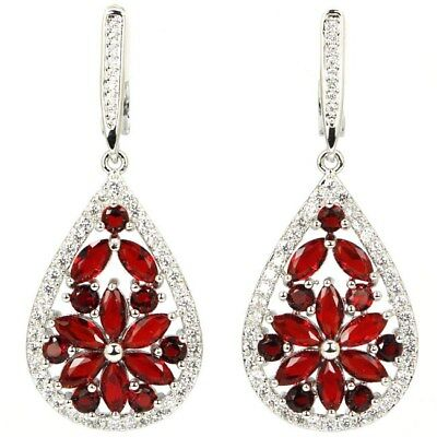 Gorgeous Blood Ruby, White CZ SheCrown Wedding Ladies Silver Earrings