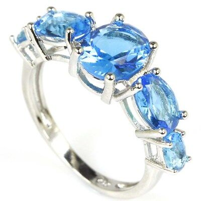 Beautiful Swiss Blue Topaz, SheCrown Wedding Woman's Silver Ring US 8.0#