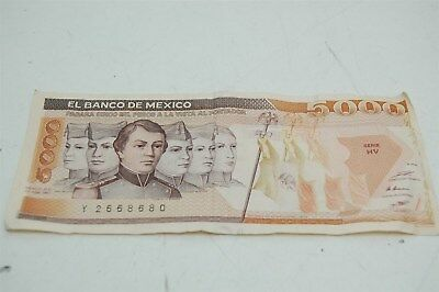 5000 Mexican Pesos 1987 Banknote Currency Mexico