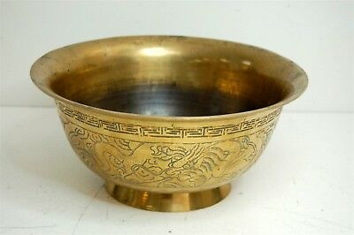 Antique Chinese Solid Brass Dragon Bowl Hammered Etched Signed