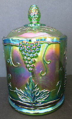Vintage Indiana Iridescent Green Carnival Glass Harvest Grape Candy Jar