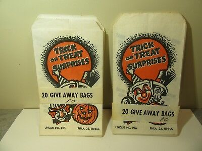 Vintage Halloween Trick Treat Bags Five Dime Store Unused Packages