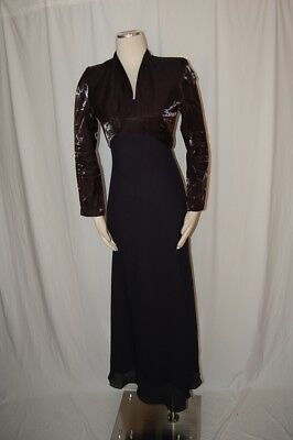 Petite Alex Evenings MOTHER OF THE BRIDE NAVY DRESS SZ 6P W/JACKET FULL LENGTH