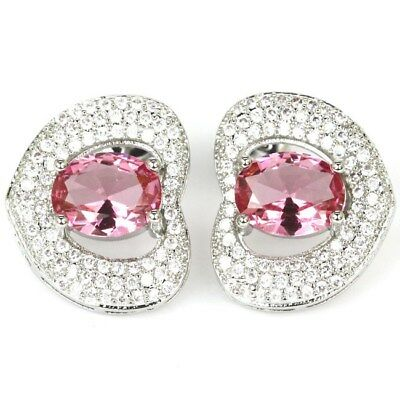 Stunning Pink Topaz, White CZ Woman's Wedding Silver Earrings