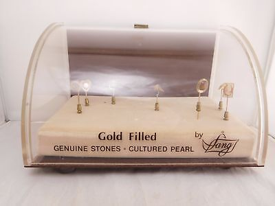 Lang Advertising Show Case Gold Filled Genuine Stones Cultured Pearl Stick Pins