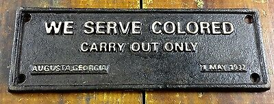 Black Americana Segregation Cast Iron Sign We Serve Colored Carry Out Only