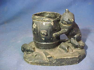 19thc VICTORIAN Era FIGURAL Cast Metal MATCH HOLDER w CAT CHASING RATS