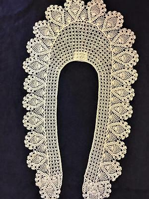 "Vintage Handcrafted Crocheted Lace Collar 100% Cotton Natural Ivory 25"" Long"