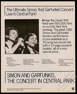 1982 Simon and Garfunkel photo The Concert in Central Park album release ad