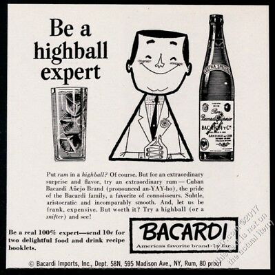 1959 Bacardi Rum bottle and highball glass smiling man art vintage print ad