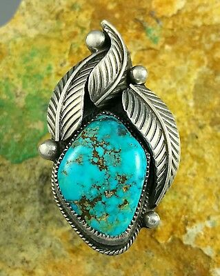 20g HUGE Sterling Silver LOREN BEGAY Old MORENCI Spiderweb Turquoise Ring Sz 7.5
