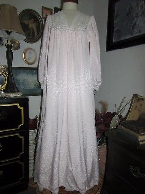 vtg Christian Dior Pink Satin LACE Long Nightgown Neiman Marcus Long Sleeve Gown