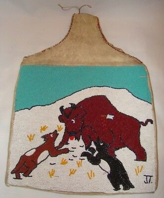 1800's Native American Sioux Buffalo Hunt Heavily Beaded & Deer Skin Bag