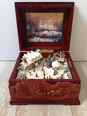 "Thomas Kinkade ""The Joy of Christmas"" Music Box Retired 2004 St. Nicholas"