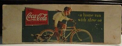 "1940s DRINK COCA COLA BOY & HIS BICYCLE A HOME RUN WITH 3 ON INK BLOTTER 2""x6"""