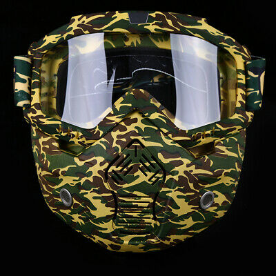 ATV UV Racing Detachable Modular Motorcycle Helmet Protective Face Mask Goggles