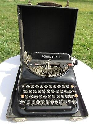 Vintage 1937 Remington Rand Model 5, Portable Typewriter With Case, Still Works