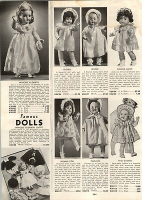 1939 PAPER AD Ideal Dolls Jane Withers Princess Elizabeth Outfits Mamma
