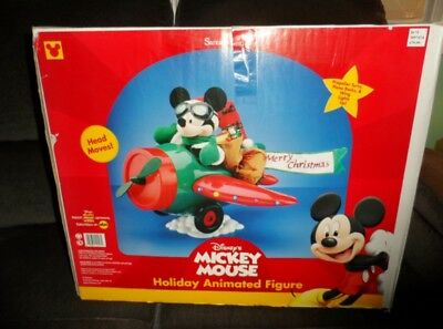 Santa's Best Animated Disney Pilot Mickey Christmas Delivery Airplane in Box WOW