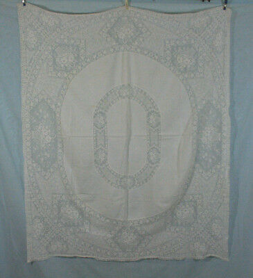 "Antique French Alencon Lace Tablecloth Basket Of Flowers Design 46"" By 55"""