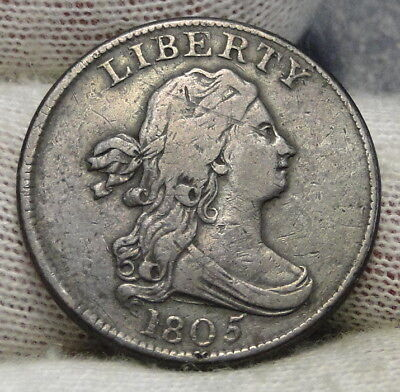 1805 Draped Bust Half Cent - Nice Coin, Free Shipping  (6486)